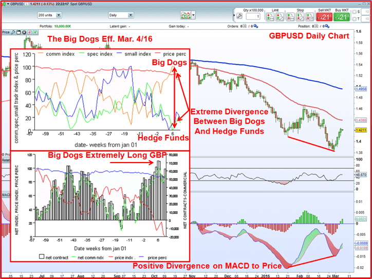 GBP/USD daily chart screen shot shows divergence between Big Dogs & hedge funds & MACD divergence.