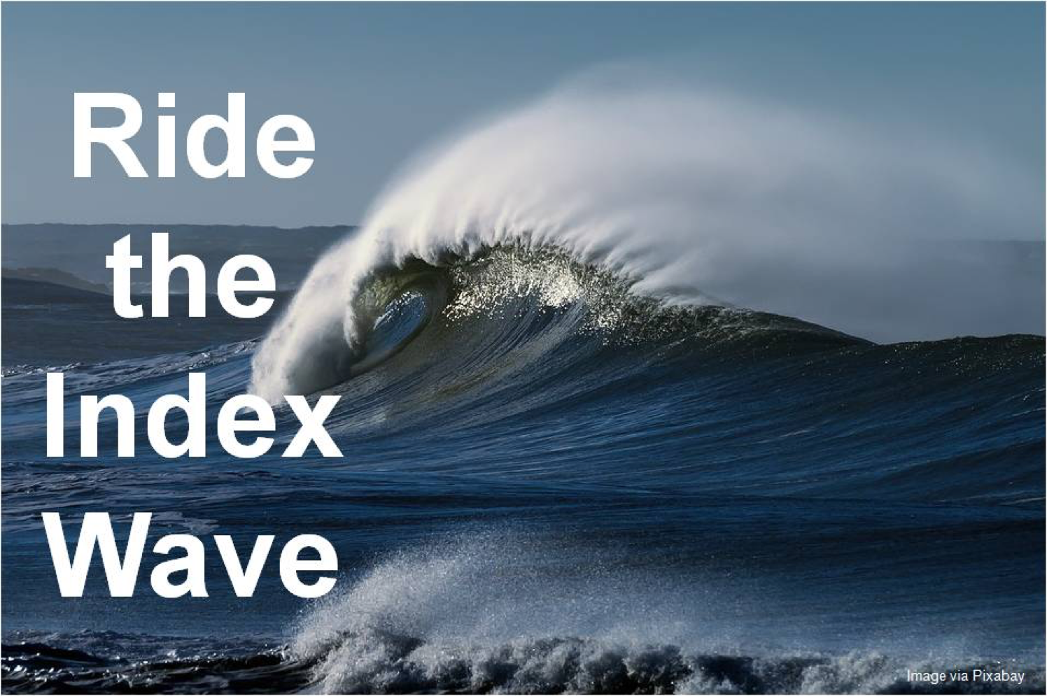 Picture of wave with lettering over to the left: Ride the Index Wave.