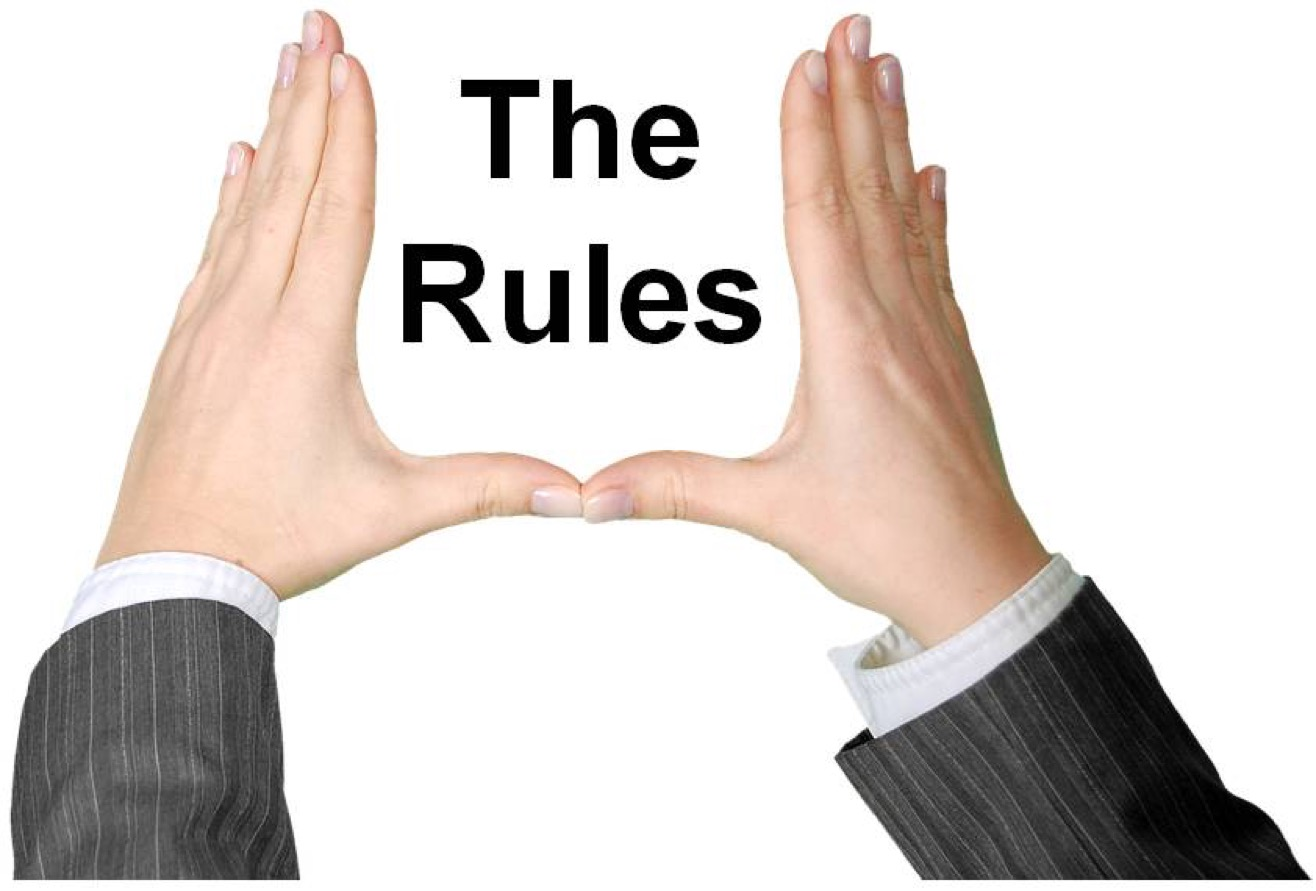 Picture of hands up in the air around the words 'The Rules.'