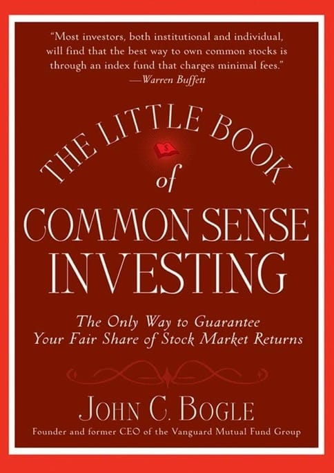 Picture of a book on investing called 'The Little Book of Common Sense Investing.'