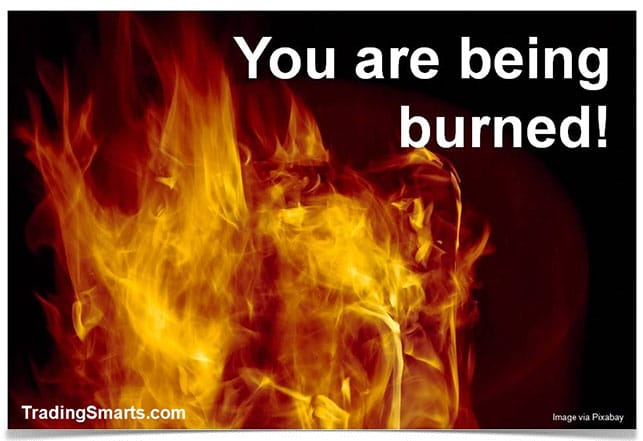 Picture of flames with the title 'You Are Being Burned' on it.
